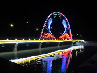 【甘肃】酒泉讨赖河大桥夜景和记官方网页工程