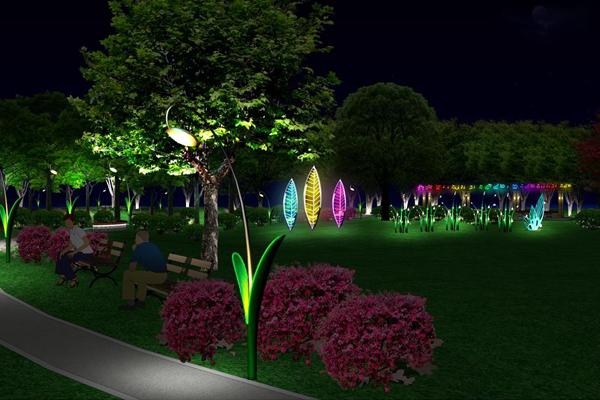 公园泛光照明效果
