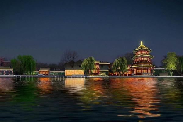 人工湖夜景照明实景